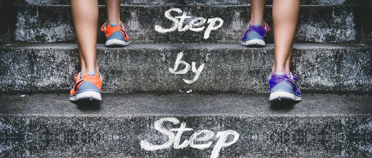Two people climbing up the stairs to a better position with the step by step SEO guide for 2021