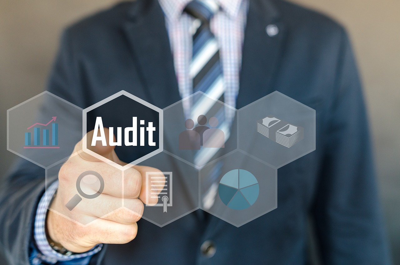 """An auditor in a suite pointing toward the """"Audit"""" button."""